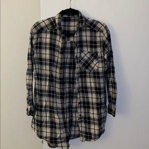 Topshop Plaid Tunic Shirt with Pockets